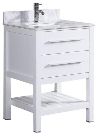 "24 Bathroom Vanity With Backsplash 24"" white bathroom vanity with marble top & backsplash"