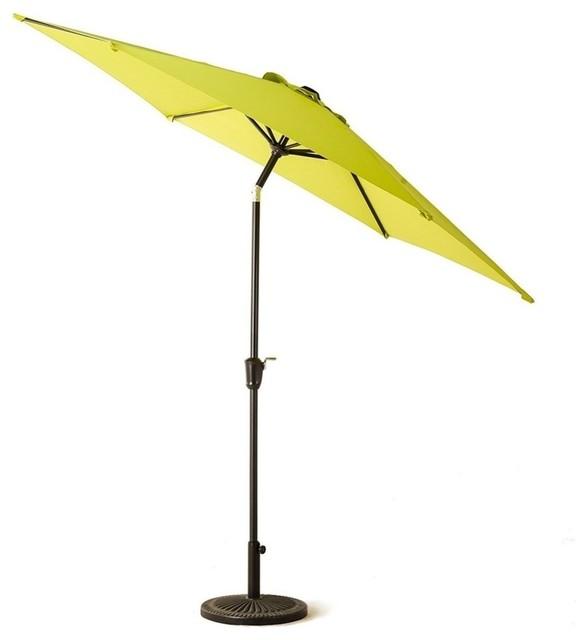 9&x27; Outdoor Patio Market Umbrella, Push Button Tilt And Crank, 6 Ribs, Green.