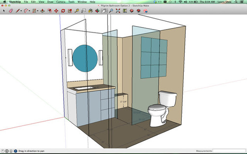 Can you spot any challenges with this bathroom design for 7 x 4 bathroom designs
