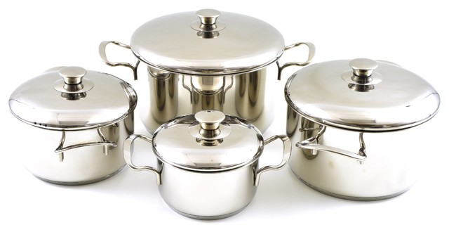 Cookware Set Of Professional Quality Stainless Steel Rainbow Elite Collection.