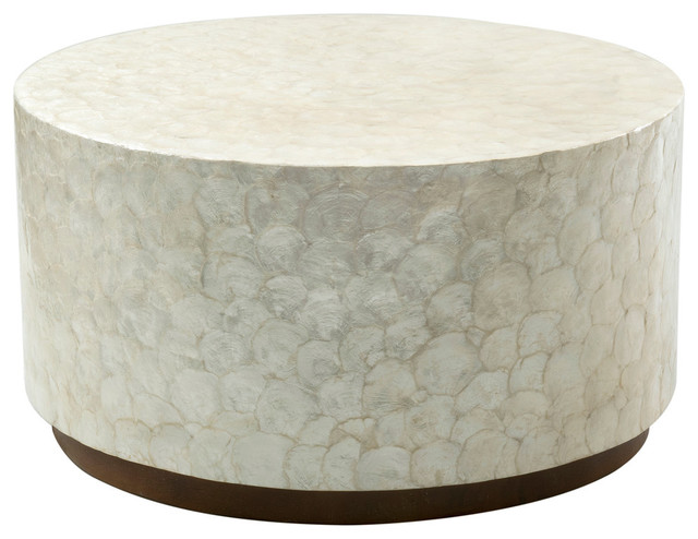 East At Main S Rowden Off White Wood And Capiz Round Coffee Table