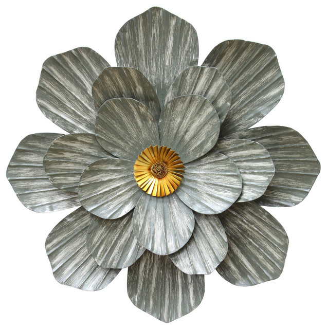 Stratton Home Decor Galvanized Flower Wall Decor Contemporary Metal Wall Art By Ami Ventures Inc