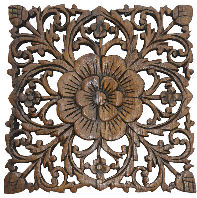 Carved Wood Wall Plaque Rustic Fl
