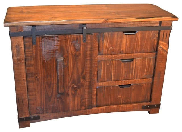 Anton Sliding Barn Door Solid Wood TV Stand - Rustic - Entertainment Centers And Tv Stands - by ...