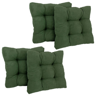 "19"" Squared Microsuede Tufted Dining Chair Cushion, Set of 4, Hunter Green"
