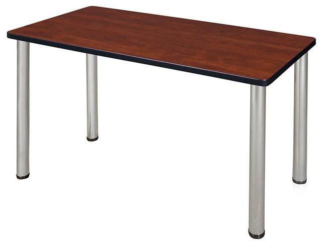 """42""""x24"""" Kee Training Table, Cherry/chrome."""