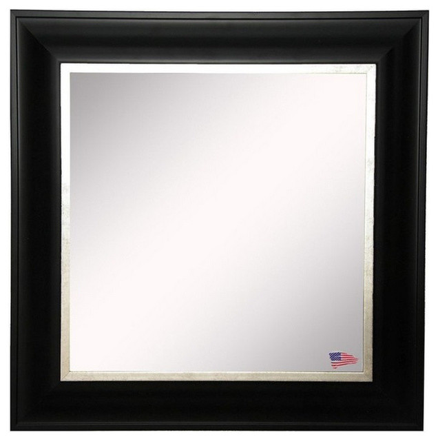 "American Made Rayne Grand Black And Aged Silver Wall Mirror, 36.5""x36.5""."