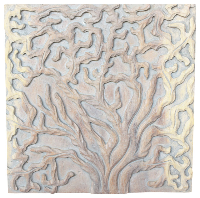 Sustainable Wood Tree Of Life Wall Panels, 3-Piece Set, Agate Gray Oil Finish.