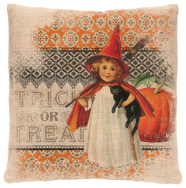 "Victorian Halloween Pillow, 18""x18""."