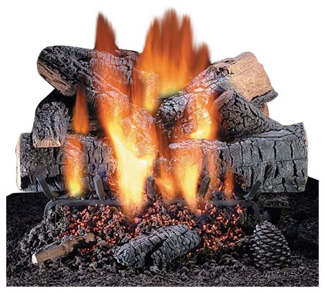 18 Windsor Premium Oak Logs With Convertible Safety Pilot Burner Rustic Fireplace Grates And Andirons By Shop Chimney