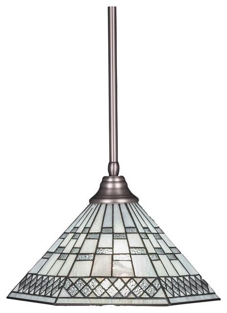 "Toltec Lighting Stem Pendant, Hang Straight Swivel, 16"" Pewter Tiffany Glass."