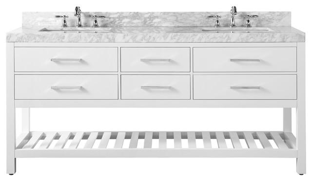 """Elizabeth Bath Vanity Set, White, 72"""", Brushed Nickle Hardware, Carrara White Ma"""