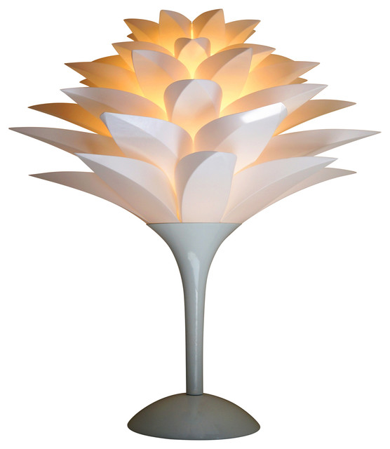 High Quality Pure White Lotus Flower Shade Table Lamp Contemporary Table Lamps