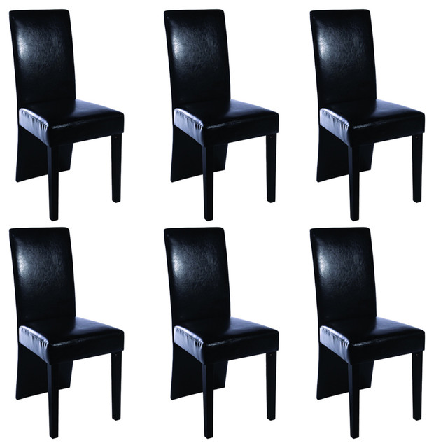 vidaXL Faux Leather Wood Dining Chairs, Black, Set of 6
