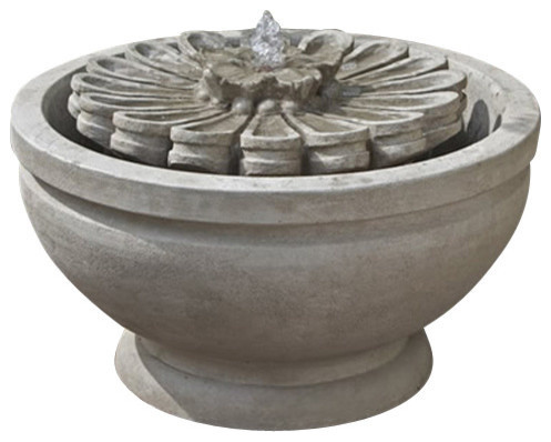 Fleur Garden Water Fountain, Aged Limestone