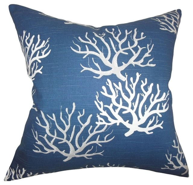 The Pillow Collection Margalo Coastal Blue Down Filled Throw Pillow