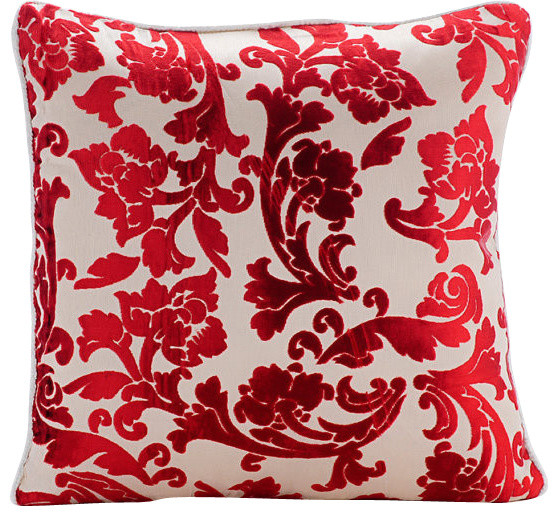 "Red Red Floral 26""x26"" Burnout Velvet Euro Sham, Cayenne Red Florals"