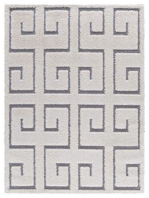 Platinum Shag Area Rug Contemporary, Greek Key Pattern, 8&x27;x10&x27;, White-Gray.