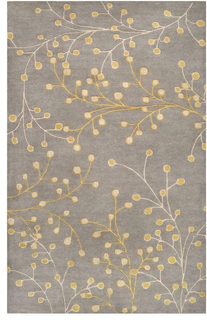 Athena Area Rug, Rectangle, Gray-Yellow, 6'x9'