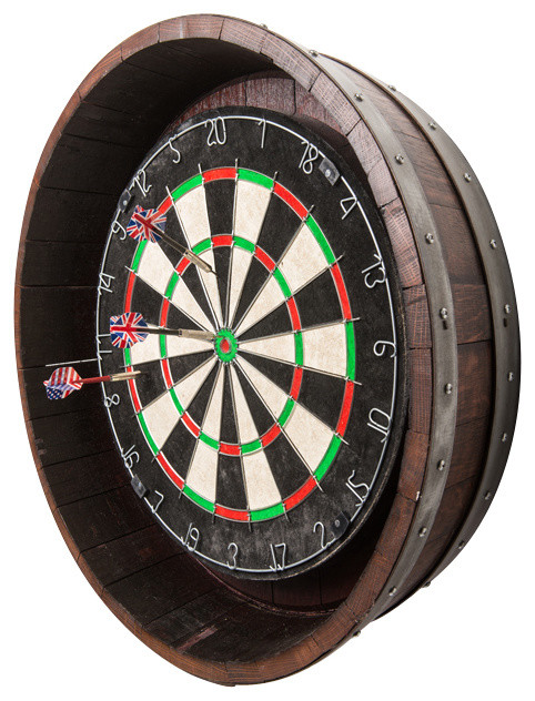 Wine Barrel Dartboard - Rustic - Darts And Dartboards - by Alpine Wine Design