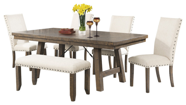 Dex 6 Piece Dining Set, Table, 4 Upholstered Side Chairs And Bench  Transitional