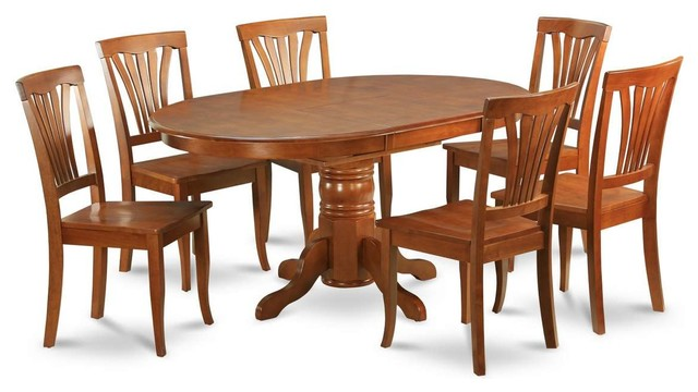 East West Avon 7 Piece 60 X42 Oval Dining Room Set Black And Cherry Traditional Sets By Veloxmart Llc