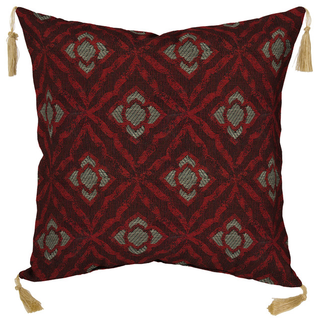 Decorative Pillows With Tassels : Geo Floral Berry Toss Pillow with Tassels - Decorative Pillows - by Bombay Outdoors