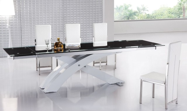 Extendable Glass Top Modern Furniture Table Set