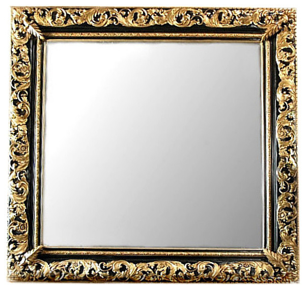 Baroque Gold Mirrors Consigned Vintage 8ft Large Gold U0026 Black Ornate Square Baroque Wall Hall  Mirror - Victorian - Wall Mirrors - By Mbw Furniture