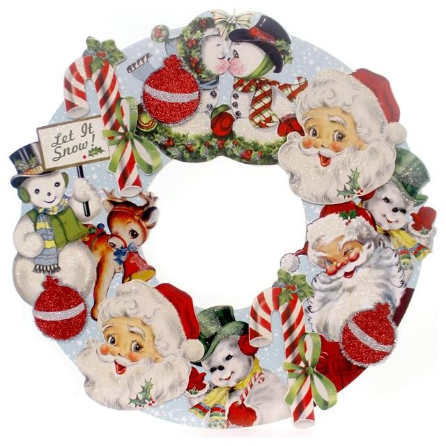 Christmas Retro Christmas Die Cut Wreath Wood Santa Snowman Candy Canes Rl2905.