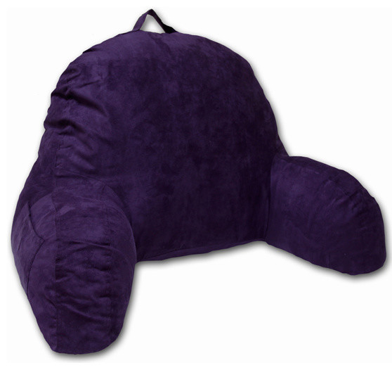 Purple Microsuede Bed Rest Reading Pillow & Support Bed Backrest Pillow With Arm