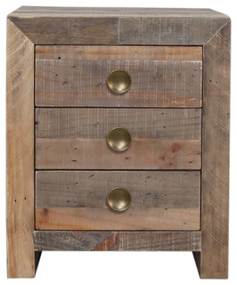 Norman Reclaimed Pine 3 Drawer Nightstand Natural by Kosas Home