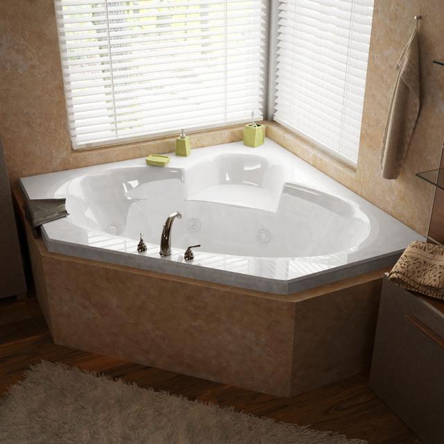 "Venzi Ambra 60""x60"" Corner Whirlpool Jetted Bathtub, Center Drain, Right Pump."