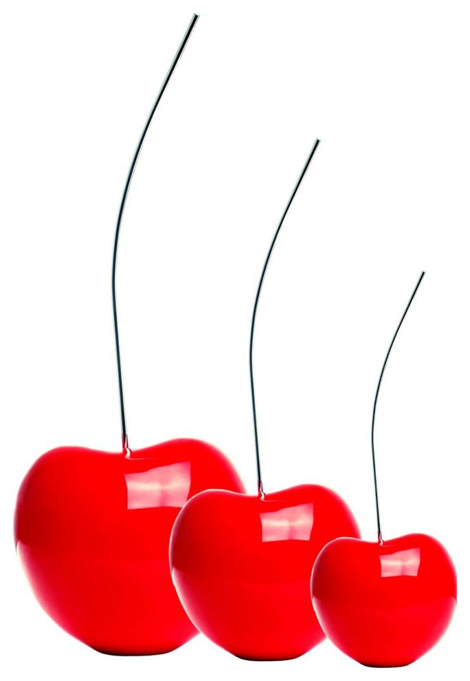 Finesse Decor Red Cherry Sculpture Set of 3