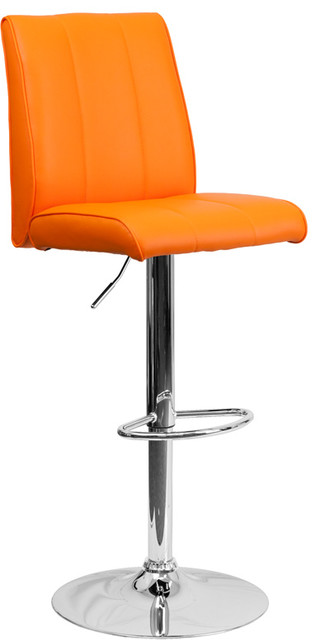 Remarkable Contemporary Orange Vinyl Adjustable Bar Stool With Chrome Base Onthecornerstone Fun Painted Chair Ideas Images Onthecornerstoneorg