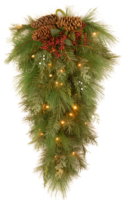 """28"""" White Pine Wall Teardrop With Pine Cones And 30 Soft White Led  Lights."""