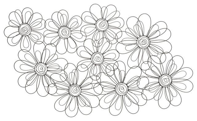 Fun And Artsy Metal Flower Wall Decor. -1