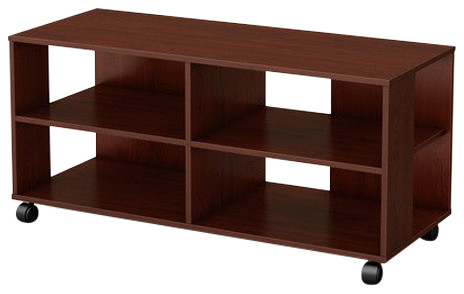 Contemporary Tv Stand Cart With Casters, Chocolate Finish.