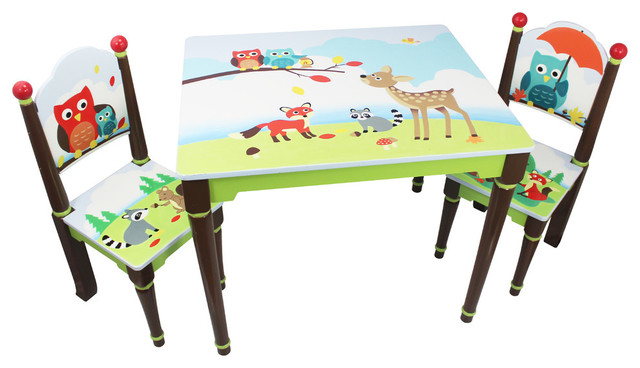 Enchanted Woodland Toddler Table Set Contemporary Kids Tables And Chairs By Teamson