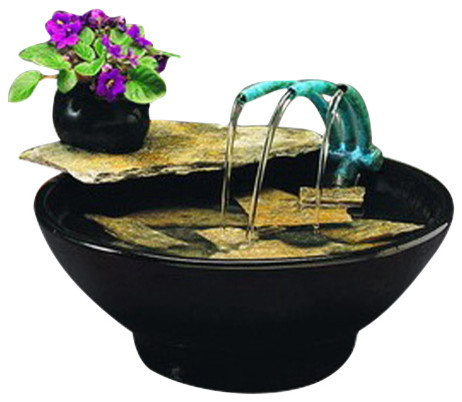 Nayer kazemi water art copper 3 spout nature bowl water fountain reviews houzz - Decorative water spouts ...