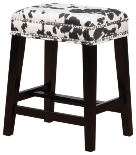 Walt Black Cow Print Counter Stool Southwestern Bar