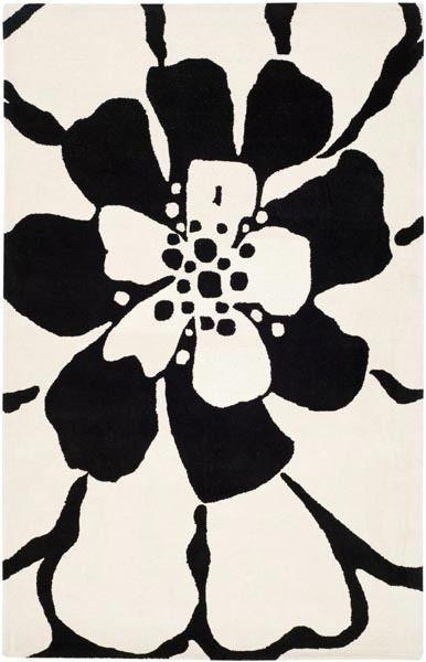 "Soho Area Rug, Rectangle, Black, White, 7&x27;6""x9&x27;6""."