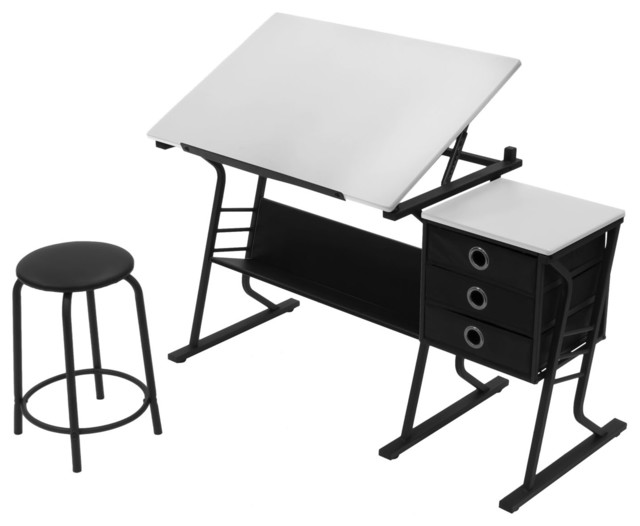Studio Designs Home Office Eclipse Center Table With Stool, Black/white.