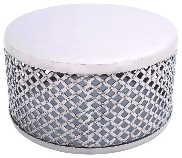 Drum Shaped Coffee Table.Coffee Table Drum Shape Criss Cross Cage Metal Home Decor 27487