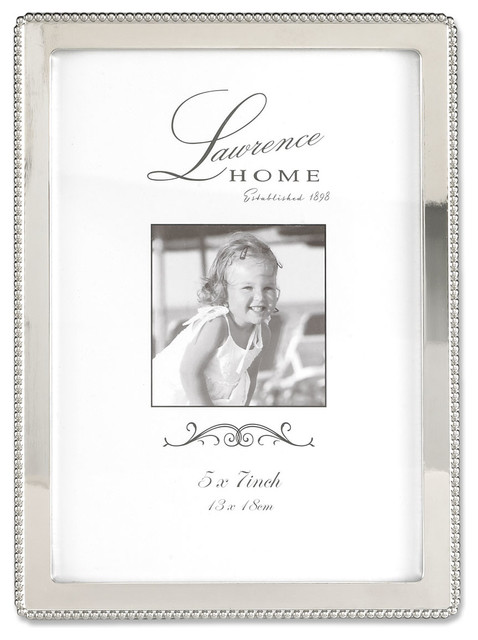 Silver Metal 5x7 Picture Frame with Delicate Outer Border of Beads
