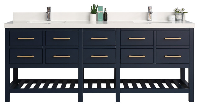 Santa Fe 84 Wx22 D Vanity In Hale Navy Blue With White Quartz Transitional Bathroom Vanities And Sink Consoles By Willow Bath And Vanity Llc