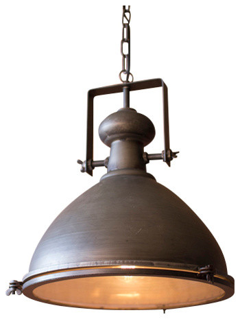 Metal Warehouse Pendant With Glass Cover.