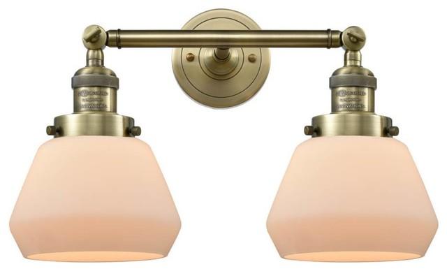 2 Light Bath Light Matte White Cased Fulton With Vintage Bulbs