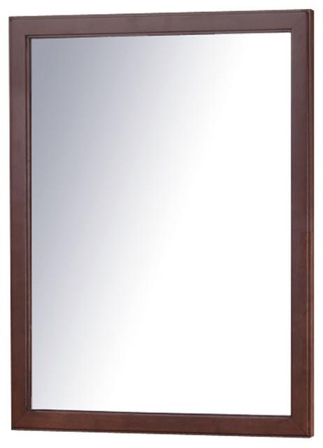 "30""x24"" Framed Wall Mount Bathroom Vanity Mirror, American Walnut. -1"
