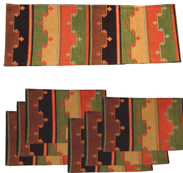 Tarak  Southwest Table Runner With Placemats Set of 7.   : table runner and placemat sets - pezcame.com